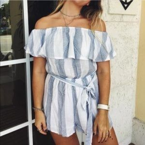 LF Blue & White Stripe Romper XS